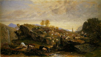 Rustics with Sheep and Goats in a Rocky Landscape | Samuel Palmer | oil painting
