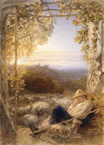 Sleeping Shepherd Morning 1857 | Samuel Palmer | oil painting