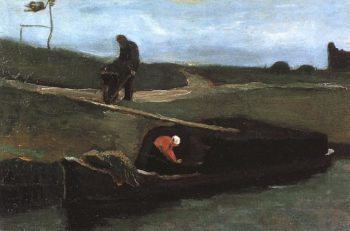 Peat Boat with Two Figures | Vincent Van Gogh | oil painting