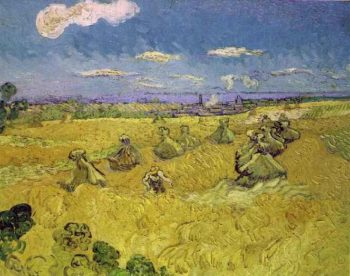 Wheat Stacks with Reaper | Vincent Van Gogh | oil painting