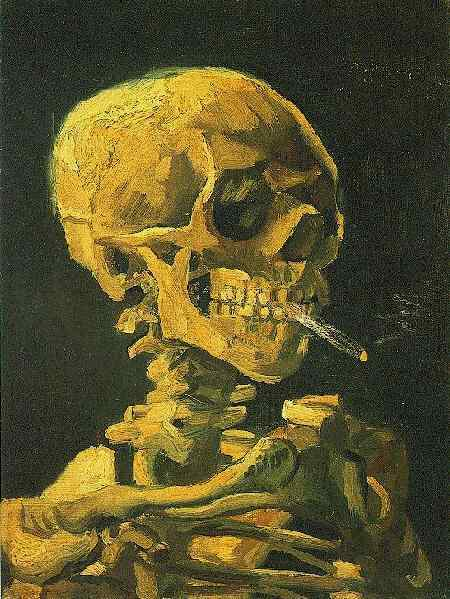 Skull with Burning Cigarette | Vincent Van Gogh | oil painting