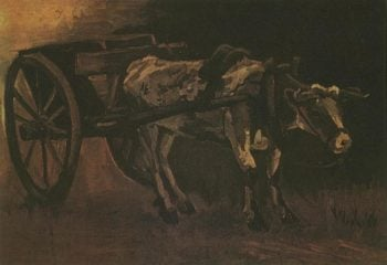 Cart with Red and White Ox | Vincent Van Gogh | oil painting