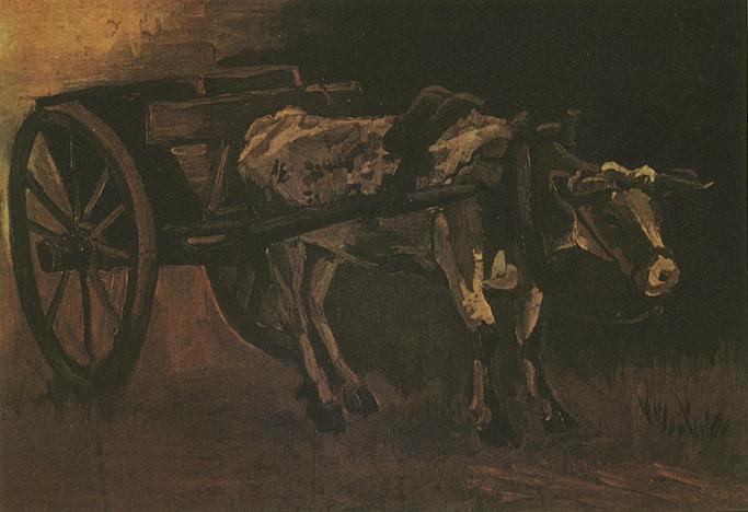 Cart with Red and White Ox - Van Gogh - oil painting
