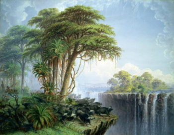 Buffalos Driven to the Edge of the Chasm opposite Garden Island Victoria Falls   Thomas Baines   oil painting
