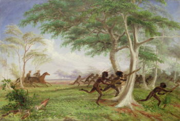 Dispersal of hostile tribes near Baines River | Thomas Baines | oil painting