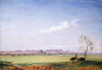 Emus on the Trap Plain | Thomas Baines | oil painting