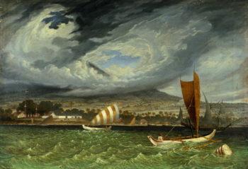 Fort Utrecht Java coast in Strait of Bali   Thomas Baines   oil painting