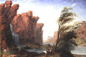 Harry Gregory Crossing Ford or Waterfall on Jasper Creek   Thomas Baines   oil painting