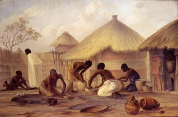 Manufacture of sugar at Katipo making pots to contain it | Thomas Baines | oil painting