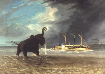 Ma Robert and Elephants in the Shallows of the Shire River 1858   Thomas Baines   oil painting