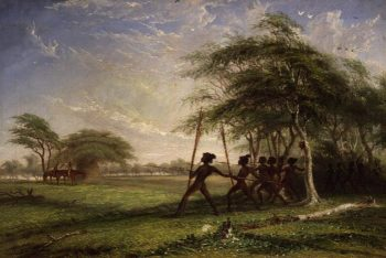 Meeting with hostile natives 1855   Thomas Baines   oil painting