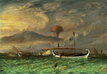 Volcano and fishing proas near Passoeroean on the Java coast Indonesia | Thomas Baines | oil painting