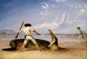 T Baines and C Humphrey killing an alligator on Horse Shoe flats | Thomas Baines | oil painting