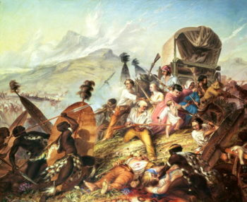 The Battle of Blauwkrantz 1838 | Thomas Baines | oil painting