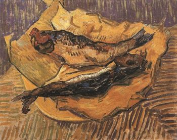 Still Life Bloaters on a Piece of Yellow Paper | Vincent Van Gogh | oil painting