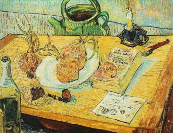 Still Life Drawing Board Pipe Onions and Sealing-Wax | Vincent Van Gogh | oil painting