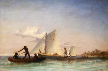 The Long Boat of the Messenger attacked by Natives | Thomas Baines | oil painting