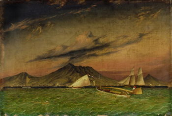 The Tom Tough hove to for a pilot to Surabaya off Passoeroean on the Java Coast   Thomas Baines   oil painting