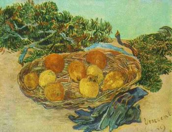 Still Life with Oranges Lemons and Blue Gloves | Vincent Van Gogh | oil painting