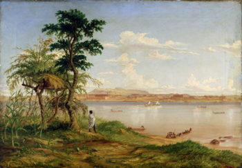 Town of Tete from the north shore of the Zambesi | Thomas Baines | oil painting