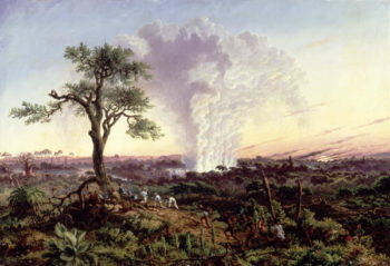 Victoria Falls at Sunrise with The Smoke or Spraycloud 1863 | Thomas Baines | oil painting