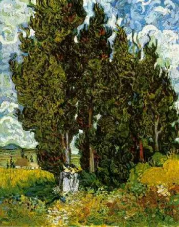 Cypresses with Two Female Figures | Vincent Van Gogh | oil painting