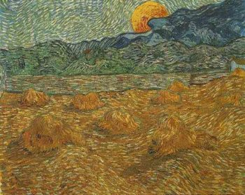 Evening Landscape with Rising Moon | Vincent Van Gogh | oil painting