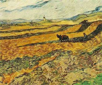 Field with Ploughman and Mill | Vincent Van Gogh | oil painting