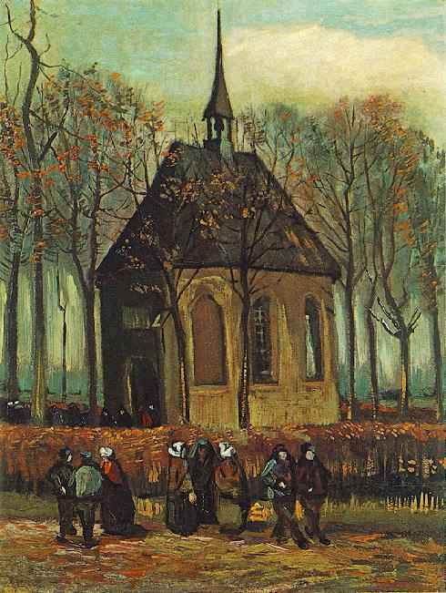 Congregation Leaving the Reformed Church in Nuenen | Vincent Van Gogh | oil painting