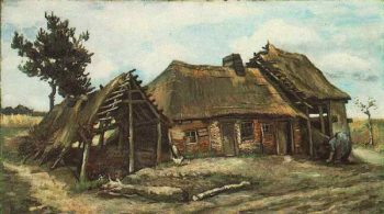 Cottage with Decrepit Barn and Stooping Woman | Vincent Van Gogh | oil painting