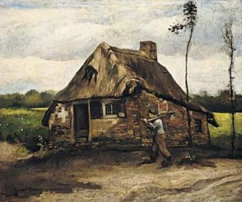 Cottage with Peasant Coming Home | Vincent Van Gogh | oil painting