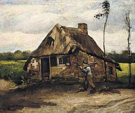 Cottage with Peasant Coming Home   Vincent Van Gogh   oil painting
