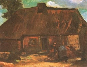 Cottage with Peasant Woman Digging | Vincent Van Gogh | oil painting