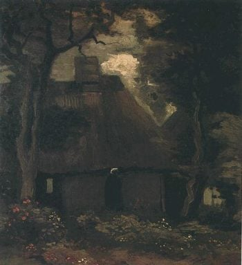 Cottage with Trees and Peasant Woman | Vincent Van Gogh | oil painting