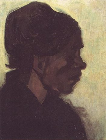 Head of a Brabant Peasant Woman with Dark Cap | Vincent Van Gogh | oil painting
