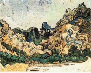 Mountains at Saint-Remy with Dark Cottage | Vincent Van Gogh | oil painting