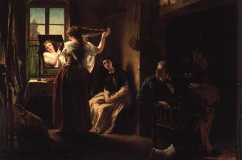 The Invention of the Combing Machine 1862 | Alfred W Elmore | oil painting
