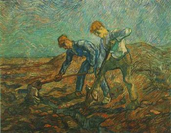 Two Peasants Digging | Vincent Van Gogh | oil painting