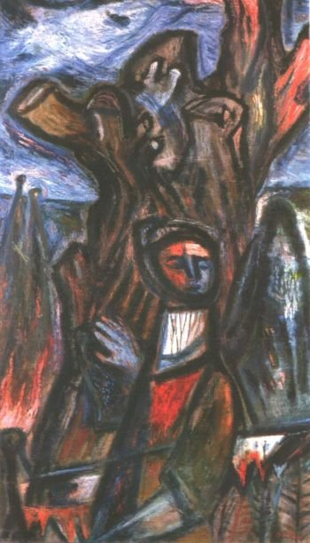 Dark Times IX (Angel with Truncated Tree) 1944 | Imre Amos | oil painting