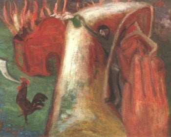 Burning Synagogue 1938 | Imre Amos | oil painting
