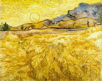 Wheat Field with Reaper and Sun | Vincent Van Gogh | oil painting