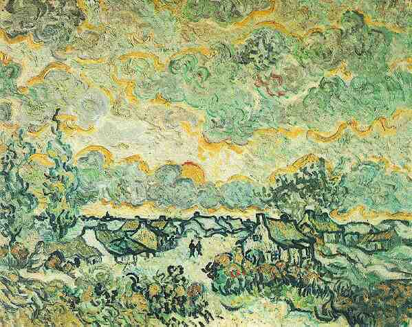 Cottages and Cypresses Reminiscence of the North | Vincent Van Gogh | oil painting