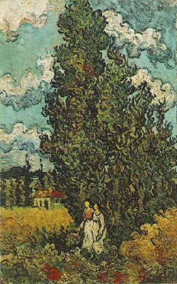 Cypresses and Two Women | Vincent Van Gogh | oil painting