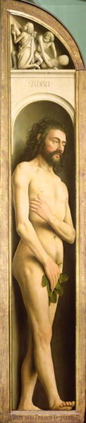 Adam from the left wing of the Ghent Altarpiece 1432 | Hubert Eyck | oil painting