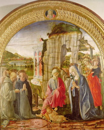 Adoration of the Child by St Ambrose and St Bernard | Francesco di Giorgio Martini | oil painting
