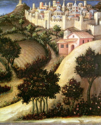 Adoration of the Magi Altarpiece central predella panel depicting the Flight into Egypt detail of the landscape 1423 | Gentile da Fabriano | oil painting