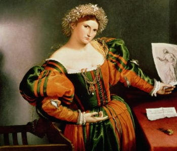 A Lady with a Drawing of Lucretia 1530 33 | Lorenzo Lotto | oil painting