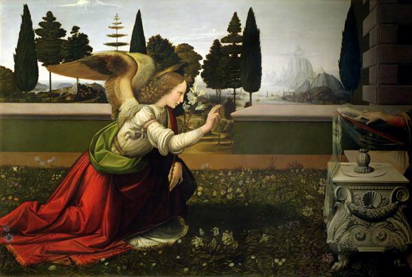 Angel Gabriel from the Annunciation 1472 75 | Leonardo da Vinci | oil painting