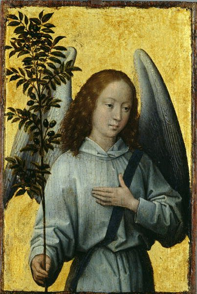 Angel Holding an Olive Branch | Hans Memling | oil painting