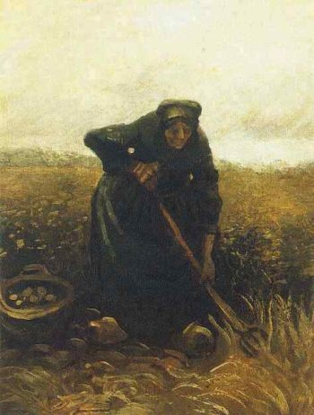 Woman Lifting Potatoes | Vincent Van Gogh | oil painting